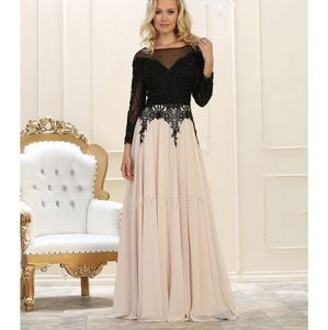 May Queen Dresses - Formal long sleeve gown. Mother of the bride dress